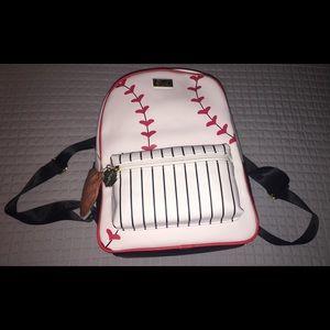 """Betsey Johnson Baseball """"Batter Up"""" Backpack"""